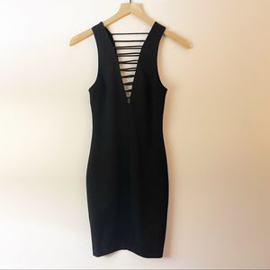 H&M Black Deep Double V Strappy Bodycon Dress